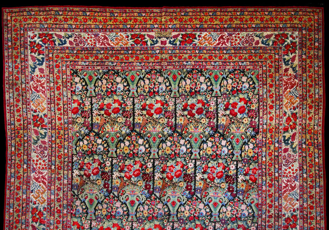 Detail of Kerman antique rug Carpet No.1023